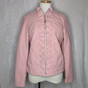 Baccini Faux Leather Ruffle Jacket